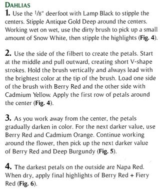 Directions on how to paint dahlias