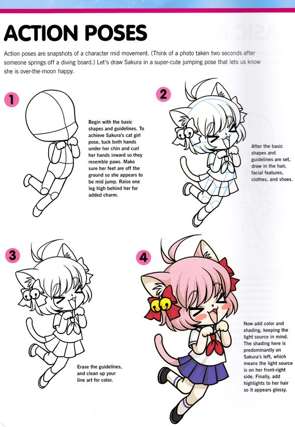 Craftside How To Draw Sakura Chibis In Action From The