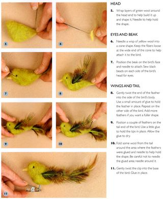 How to make a bird clip ornament