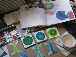 Watercolor painting in circles design