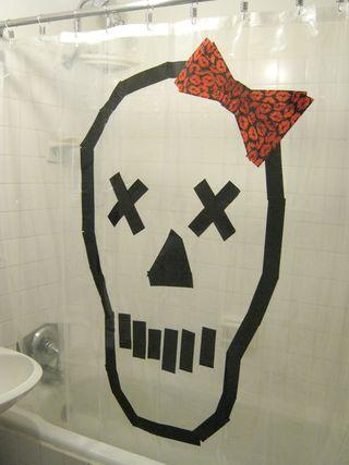 Duct tape skull halloween decoration curtain