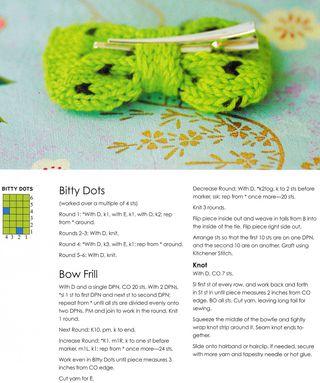 Knit pattern bow hair clip polka dot