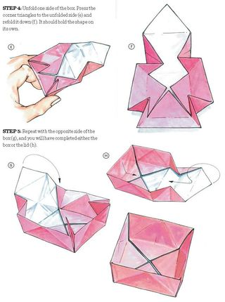 How to fold an origami gift box lid