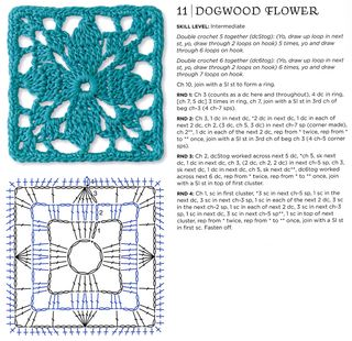 Dogwood flower crochet granny square pattern