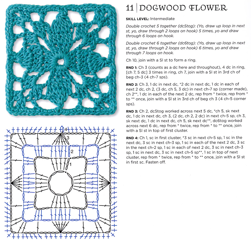 Craftside: Dogwood flower granny square pattern from the The Granny ...