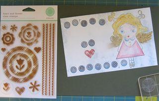 Martha stewart plaid rubber stamp heart