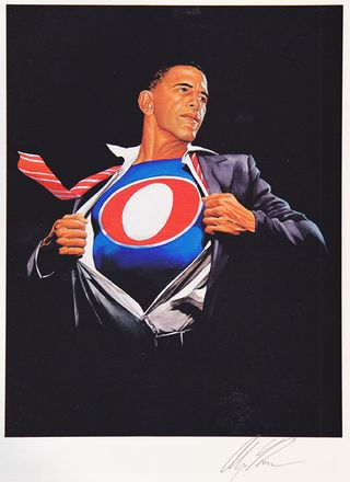 Obama poster with o on shirt superman