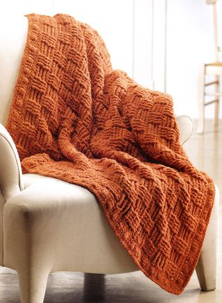 Alpaca basket weave crochet blanket