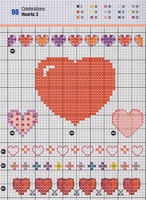 Craftside Lots Of Valentine Heart Cross Stitch Patterns