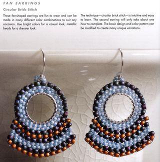 Beaded fan earrings on split ring base