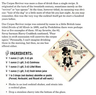Recipe for a corpse reviver cocktail