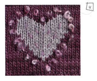 Boucle yarn as embroidered stitch detail knit