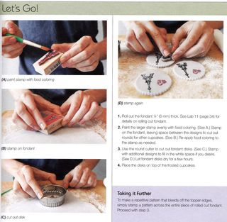 Stamping on fondant cupcake tutorial