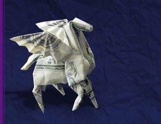 Origami pegasus dollar bill folded