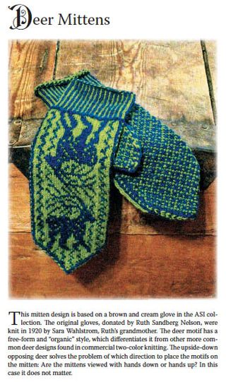 Knit deer mittens pattern chart swedish