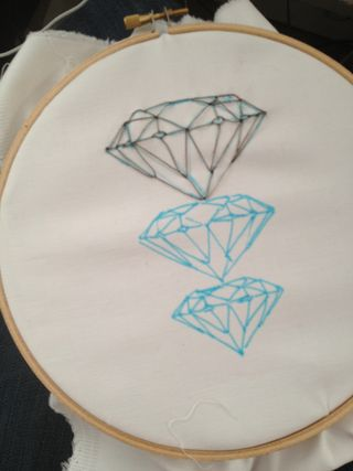 How to embroider diamonds