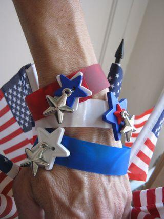 Rowlux plastic red white blue bracelets