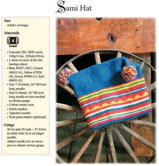 Knit pattern for swedish sami hat