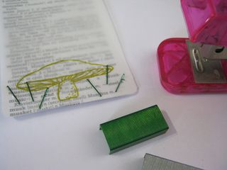 How to make grass with green staples