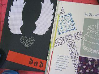 Heart wings card design mixed media