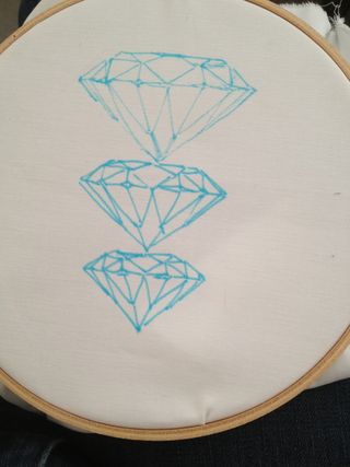 Three diamond pattern embroidery