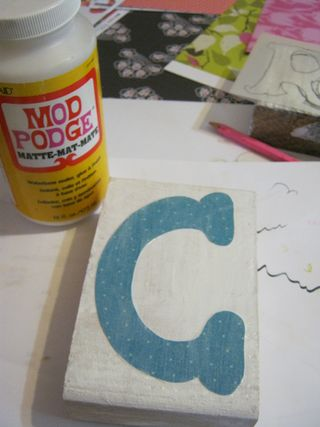 Mod podge letters on wood blocks