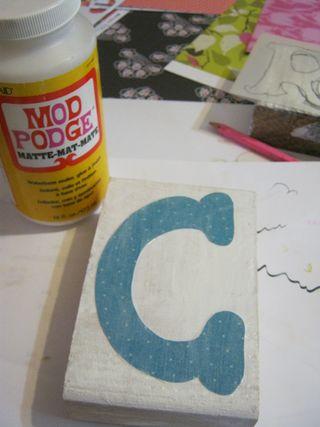Mod podge letters on wood blocks