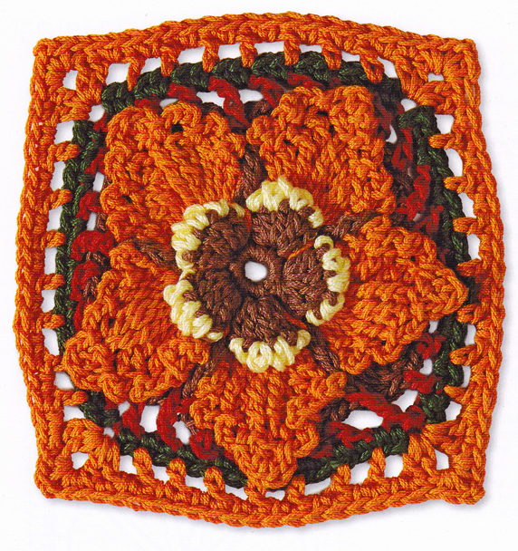 Craftside Acorn And Oak Leaf Crochet Granny Square Pattern From The