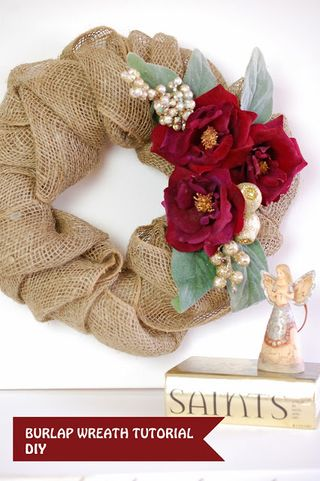Christmas WREATH burlap tutorial craft