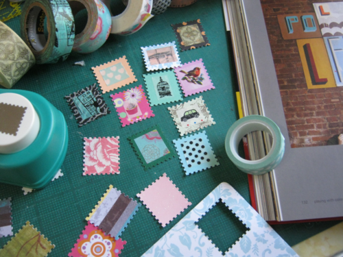 Washi tape stamps embellishments