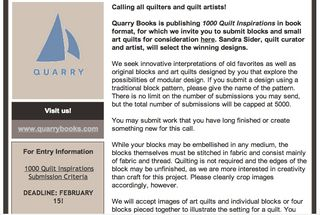 Submit your art quilts quarry books