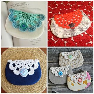 Doily pouch collage