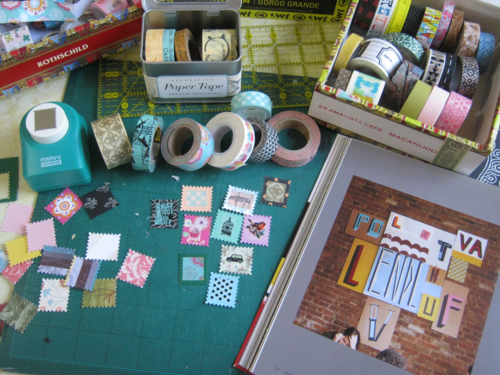 Color art with stamp punch washi
