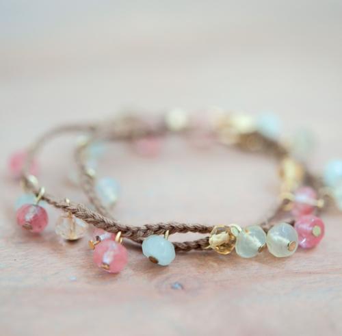 Bead dangles in braided bracelet